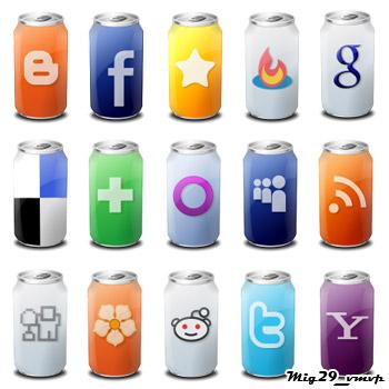 Иконки - банки напитки, рсс, социальные сети, веб сайты