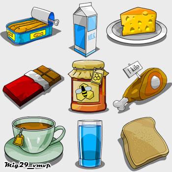 скачать иконки пища, ежедневная