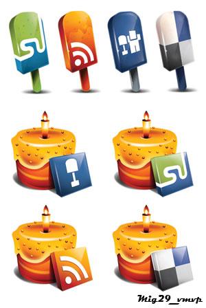 скачать иконки мороженное, торты, социальные сети, закладки