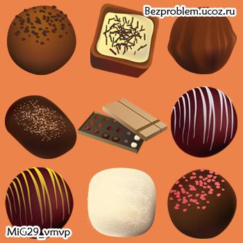 Иконки, шоколадные конфеты, скачать бесплатно