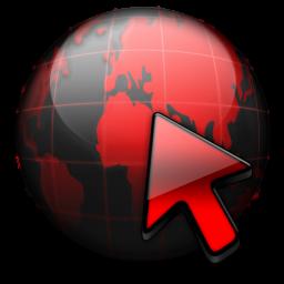 Значок красного цвета в виде земного шара со стрелкой
