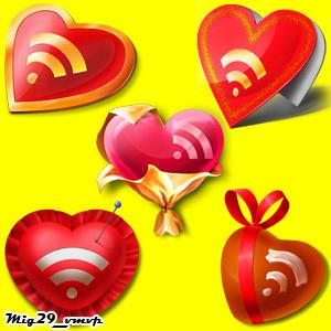 скачать иконки сердца для РСС, RSS