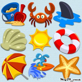 скачать иконки, лето, море, пляж, солнце
