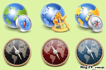 скачать иконки с глобусами, компасы, земные шары