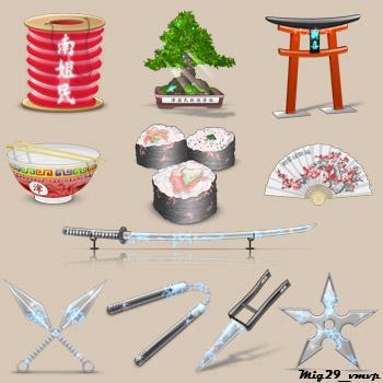 Скачать бесплатно иконки, древняя Япония