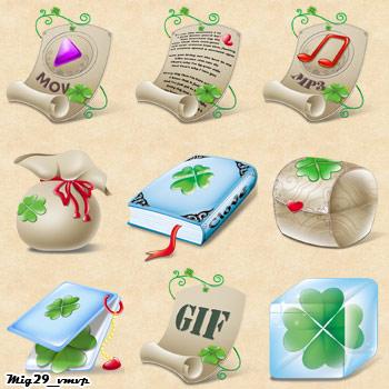 Скачать бесплатно ирландские иконки, листья клевера