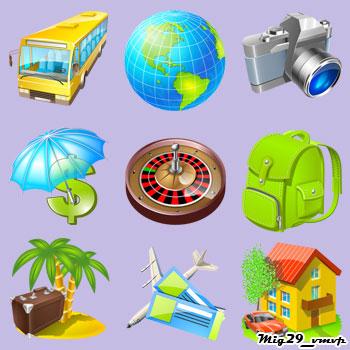 Скачать бесплатно, иконки на тему туризма