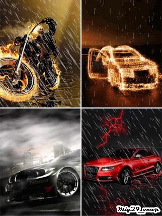 Анимированные обои на мобилу, машины и молнии, туман, дождь